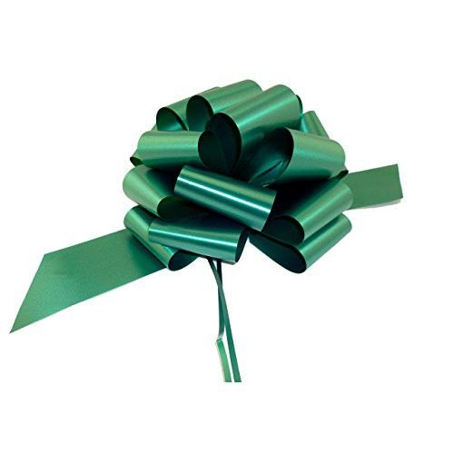 """Large Hunter Green Pull Bows - 9"""" Wide, Set of 6, Decorative Christmas Gift Ribbons"""