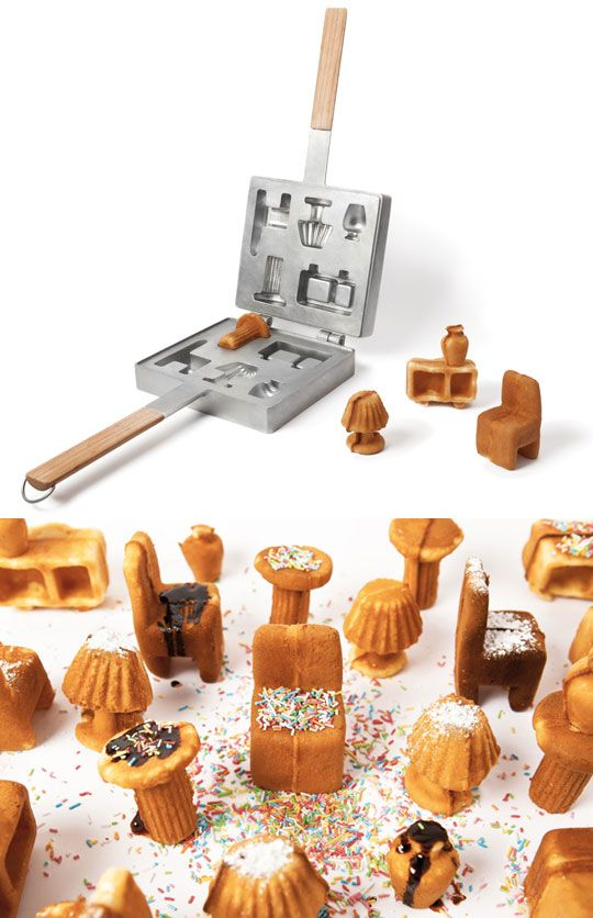 "Now your waffle home can have all the waffle furniture it can handle. From the Japanese / Portuguese partnership of Ryosuke Fukusada and Rui Pereira, this waffle iron creates a complete set of dollhouse sized furniture. In waffle form. The designers say, ""in this way, when the user gets full of his furniture, he just eats it.""  I'd make waffles all the time with this! kn"