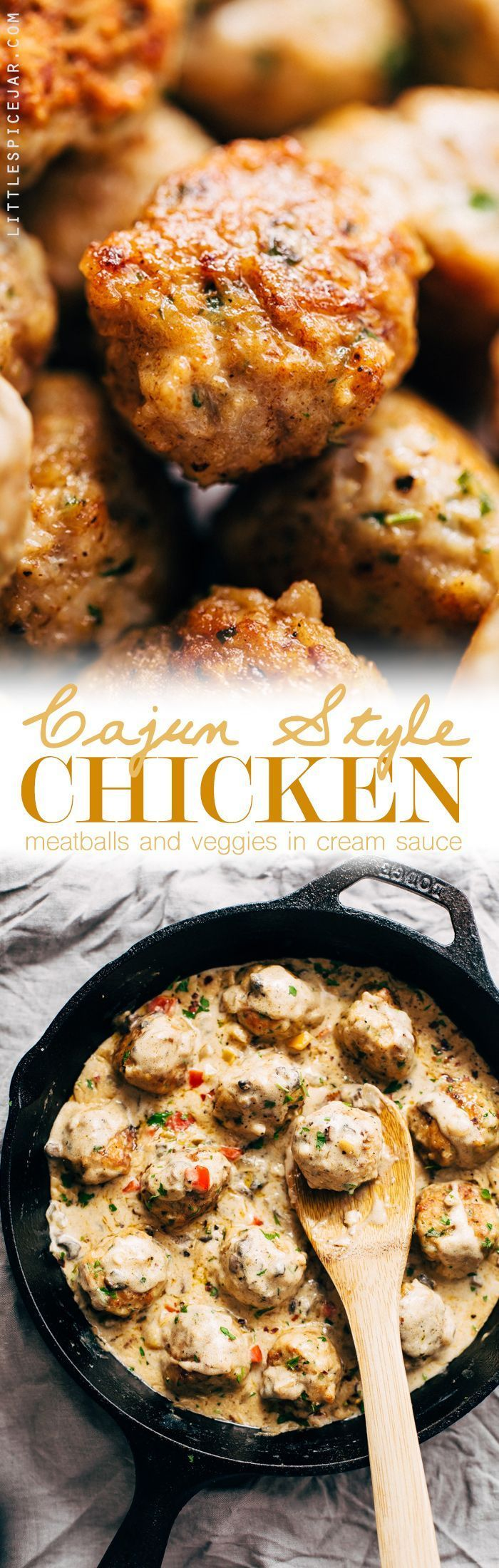 Cajun Chicken Meatballs in Tasty Cream Sauce - These meatballs are flavored with cajun seasoning and perfect to serve with garlic bread or egg noodles! So comforting! #cajunchickenmeatballs #chickenmeatballs #meatballs #creamsauce | http://Littlespicejar.com