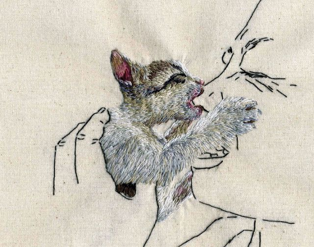 Grumpy Kitten Embroidery Artist Ana Teresa Barboza