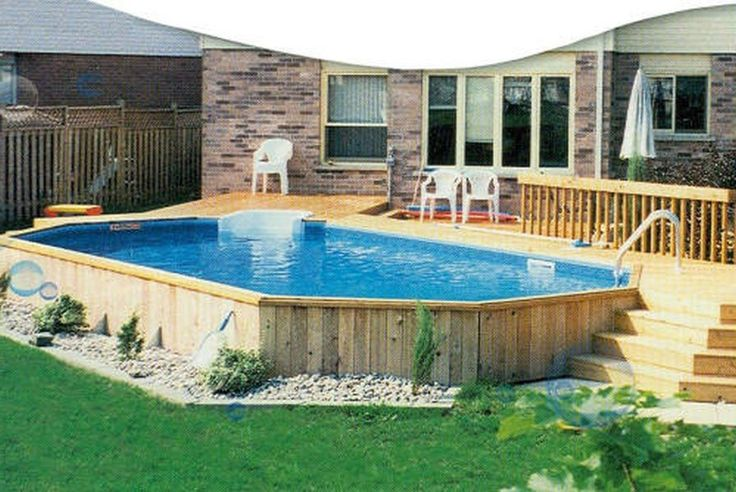 Swimming Pool, Admirable Above Ground Pool Deck And Exposed Bricks ...