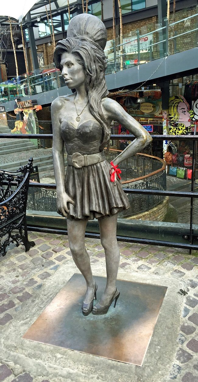 regents canal walk, amy winehouse statue, camden market
