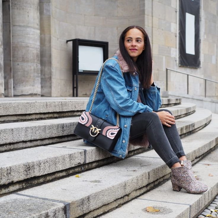 Outfit – Pinko bag, fur lined denim jacket and glitter booties