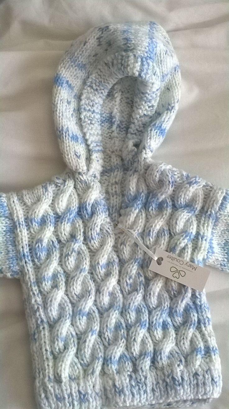 Aran hoodie blue and white(age1-2 years)