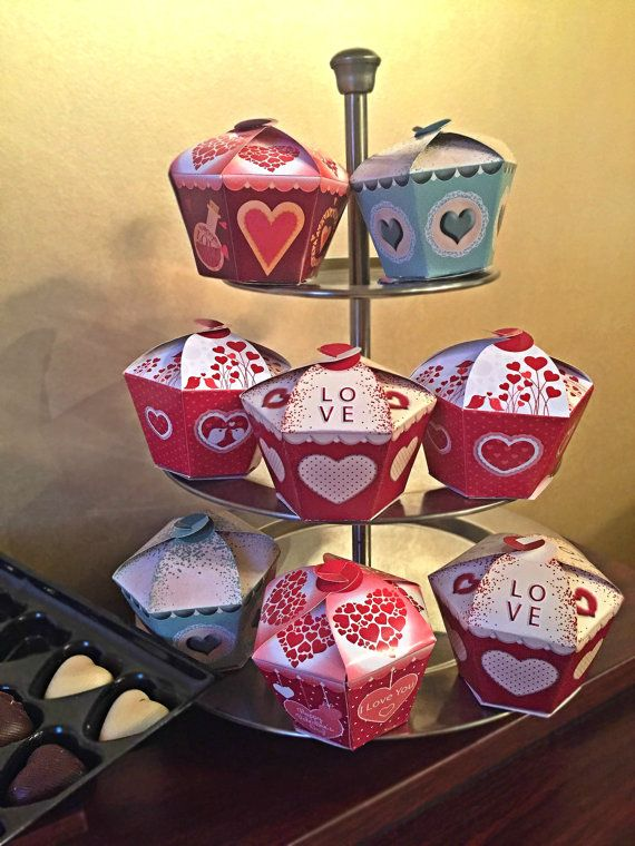 Valentines Day Gift Cupcake Boxes Set  Valentine by PaperCraftCB