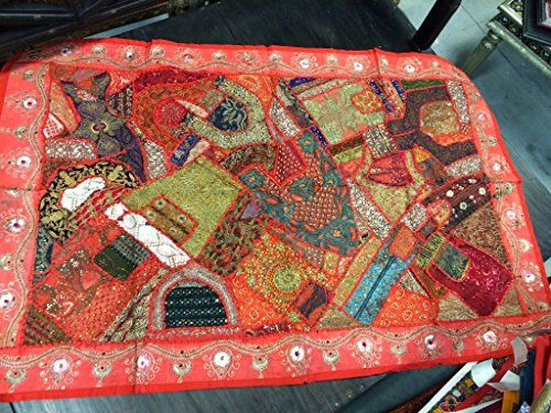 Indian Tapestry Red Beaded Embroidered Patchwork Wall Hanging Asian Decor Mogul Interior http://www.amazon.com/dp/B00R0WWFHM/ref=cm_sw_r_pi_dp_jASJub1CH4BHE