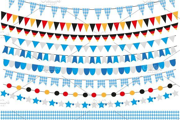 Oktoberfest set of flags, bunting, garland. October fest in germany collection o…