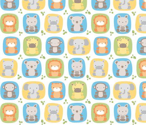Animal babies fabric by misstiina on spoonflower custom for Baby monkey fabric prints