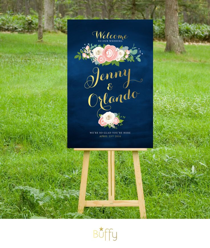 $20 on ETSY   The JENNY . Welcome Wedding Ceremony Sign . Gold Calligraphy & Navy Chalkboard . White Roses Pink Peonies Dusty Miller . Custom Flowers PDF by BuffyWeddings on Etsy