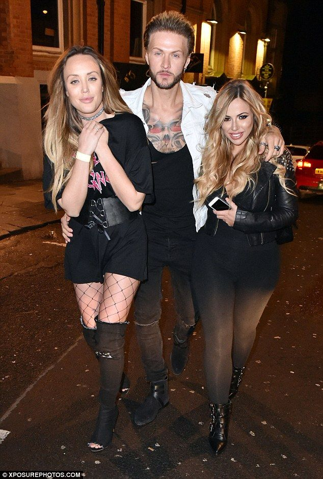 In good company: Charlotte Crosby was joined by Geordie Shore pals Holly Hagan and Kyle Christie for a night out in their native Newcastle on Sunday night