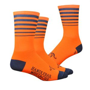 Handlebar Mustache Between the Lines Orange Socks