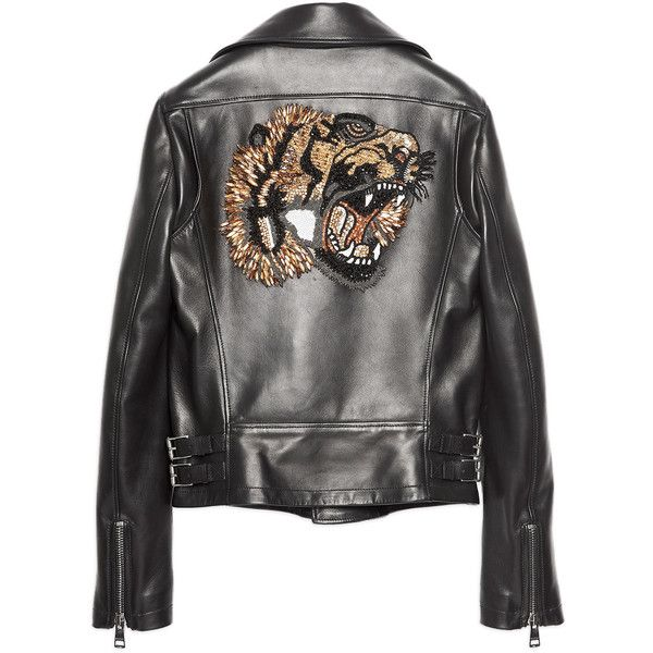 Gucci Tiger Leather Jacket found on Polyvore featuring outerwear, jackets, kirna zabete, leather jackets, sequin jacket, gucci jacket, 100 leather jacket and genuine leather jackets