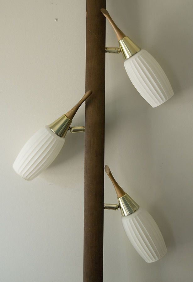 Vtg danish modern teak brass tension pole lamp ribbed glass shades mcm light