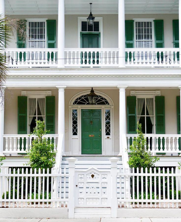 25 best ideas about green shutters on pinterest shutter colors olive green walls and green - Front doors on white houses ...