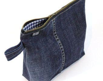 Denim Toiletry Bag of recycled jeans, dark blue