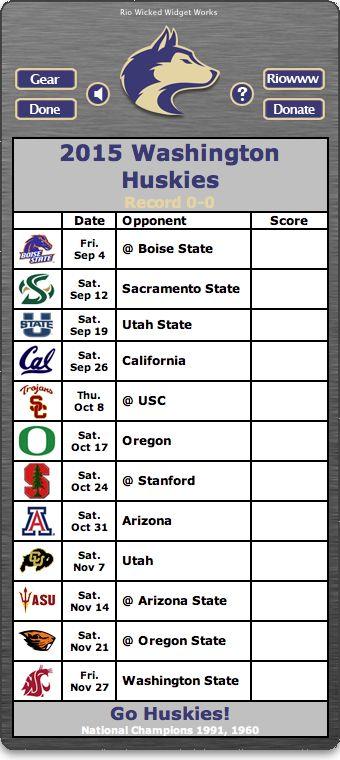 BACK OF WIDGET - Free 2015 Washington Huskies Football Schedule Widget for Mac OS X - Go Huskies!  National Champions 1991, 1960  http://riowww.com/teamPages/Washington_Huskies.htm