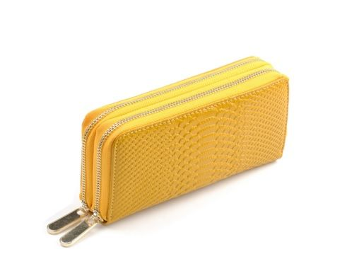 Snakeskin Textured Yellow Colour Women Purse