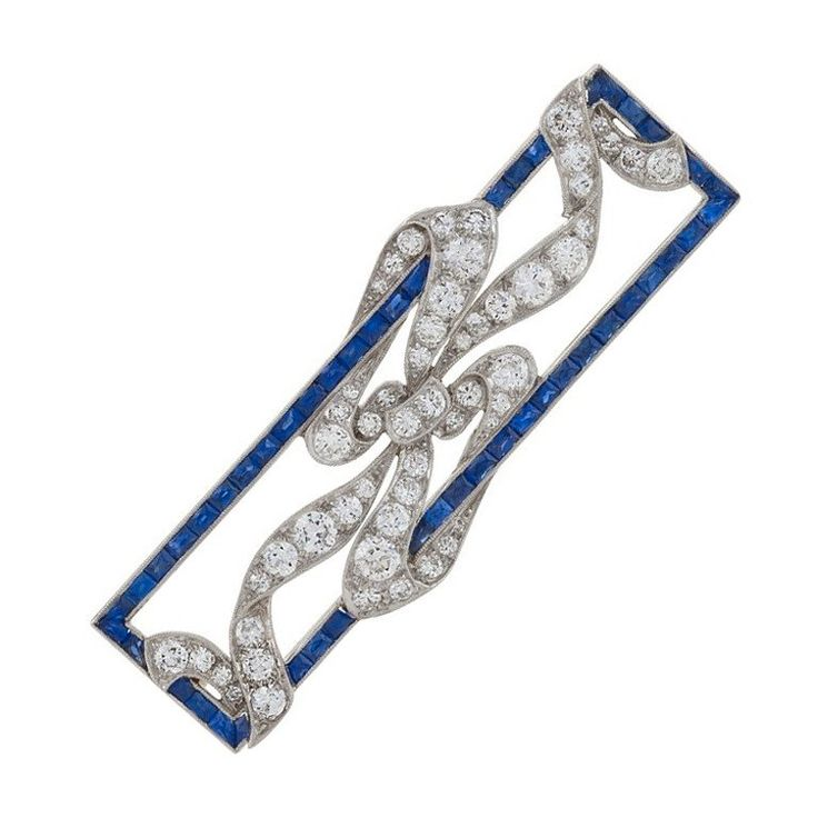 Early Art Deco Diamond, Sapphire and Platinum Brooch | 1stdibs.com