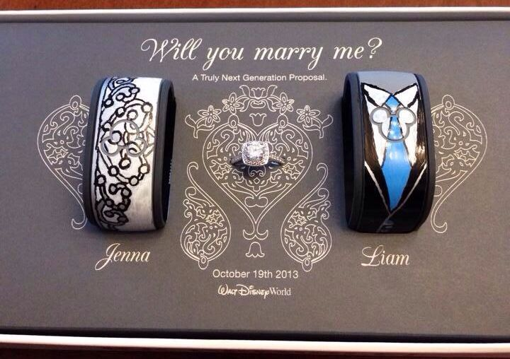 MyProposal+ ring box from my Walt Disney World Engagement! My fiancé and I are huge Disney Parks fans and excited for MyMagic+ to hit Disney World! Liam partnered to have custom MagicBands and ring box created for our proposal. We are the first official MyMagic+ wedding proposal! He got all my friends from across the country to come to WDW and surprise me. It was the best day of our lives!