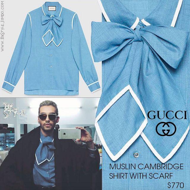 Bill Kaulitz style    Muslin Cambridge shirt avec écharpe par le sραiη de Gucci [10/11/2015] ~ Ŧoкio нoŦεℓ