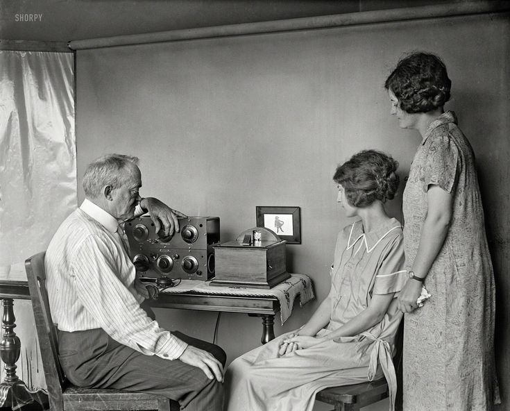 "1925. ""Motion pictures by radio are very near, predicts C. Francis Jenkins, who has designed this small radio-vision receiving set for use i..."