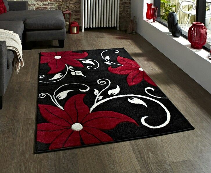 Black Red White Floral Rug Black White Red Trend