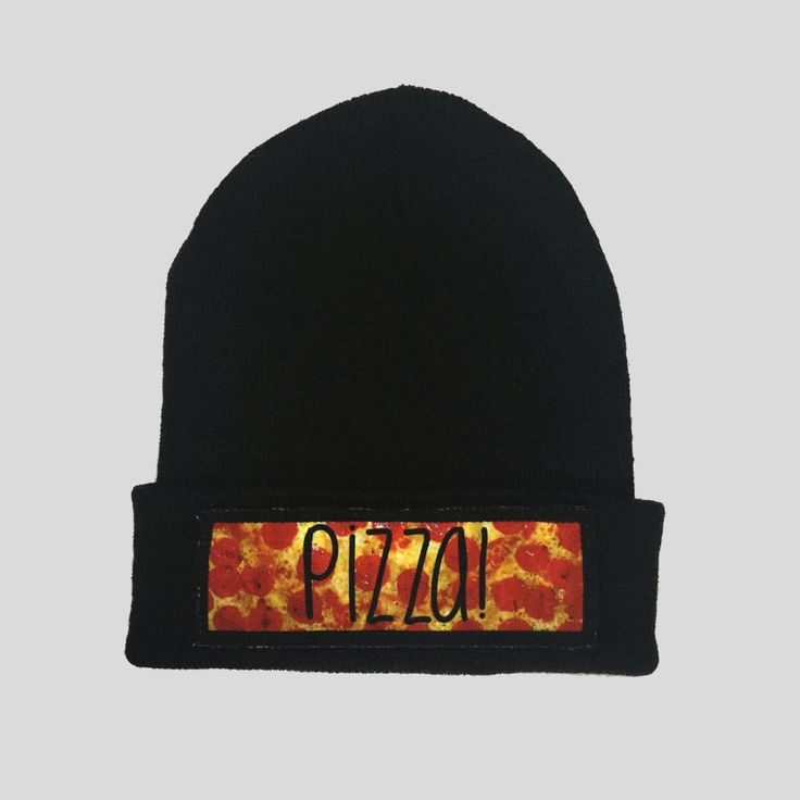 Pizza Slice Food Style Winter Beanie Headwear Hipster Indie Swag Dope Hype Black Hat Beanie Mens Womens Cute Slouchy Hat by IIMVCLOTHING on Etsy