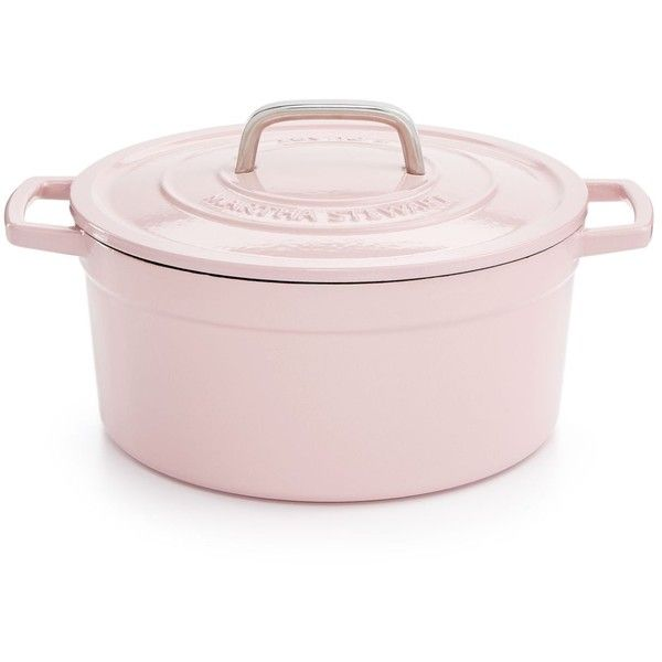 Martha Stewart Collection Collector's Enameled Cast Iron 6 Qt. Round... ($50) ❤ liked on Polyvore featuring home, kitchen & dining, cookware, pink, roasting pot, martha stewart, pink cookware, martha stewart cookware and martha stewart pots