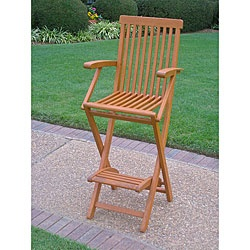 @Overstock - Furnishing made of solid yellow belau wood, which is comparable in strength and durability to teak woodChair is bar height and includes footrest for comfort  Bar chair folds for easy storagehttp://www.overstock.com/Home-Garden/Royal-Tahiti-Folding-Bar-Chair-with-Arms-and-Footrest/4089609/product.html?CID=214117 $144.99