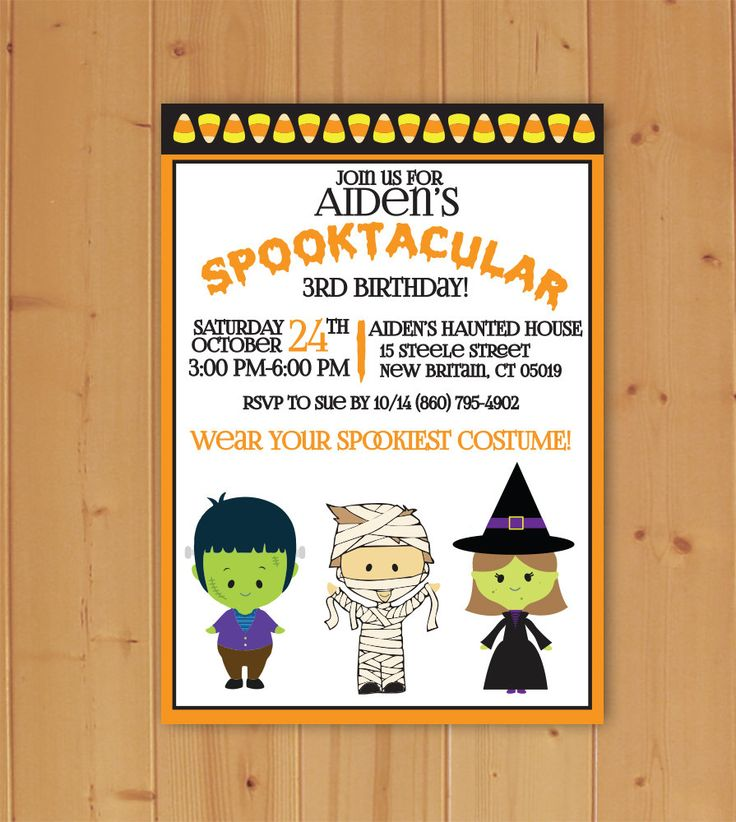 Spooktacular Halloween Birthday Party Invitation, Halloween Birthday Invitation, Children's Halloween Birthday Invitation, Downloadable File by JMCustomInvites on Etsy