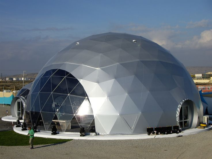 Pavilions – domes for events – Baku, Azerbaijan Adjoining Icosahedron geometry PVC pavilions – domes. Frame made from stainless steel TUBE construction. Pavilion cover – grey (silver) PVC sheeting, panoramic windows from clear PVC sheet. Three entrances installed with decorative O-door system and two-leaf double-glazed doors.