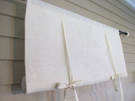 White Burlap 36 Inch Long Burlap Curtain Blind Tie Up Swedish Etsy Burlap Curtains Curtains With Blinds Tie Up Curtains