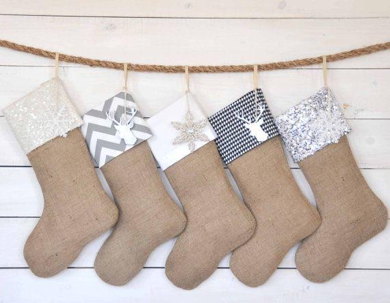 Personalized Christmas Stocking - Black/Silver Set of 5 - Christmas Stocking Set, Burlap Stockings, Monogrammed Stockings, Stockings