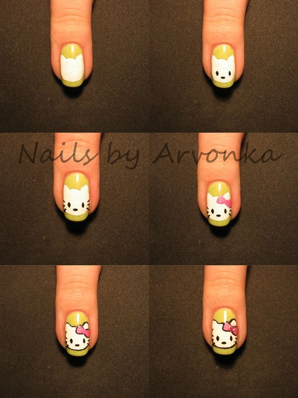 479 best nailed it images on pinterest nail designs drawings super cute and easy hello kitty nail tutorial prinsesfo Gallery