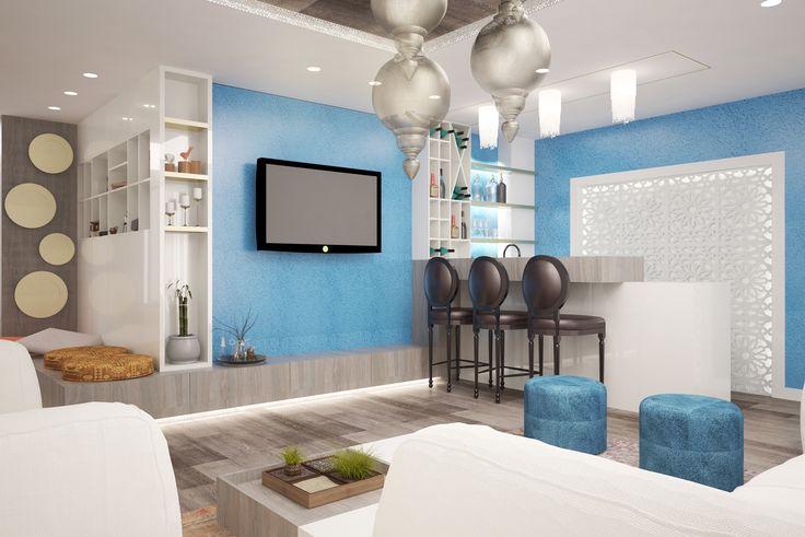 #white #skyblue #beige #livingroom #lights #curtains #spots #sofa #chairs #coffeetable #shelves #wood #plants #green #bigwindows #glasstable #whitechairs #ceilinglamp