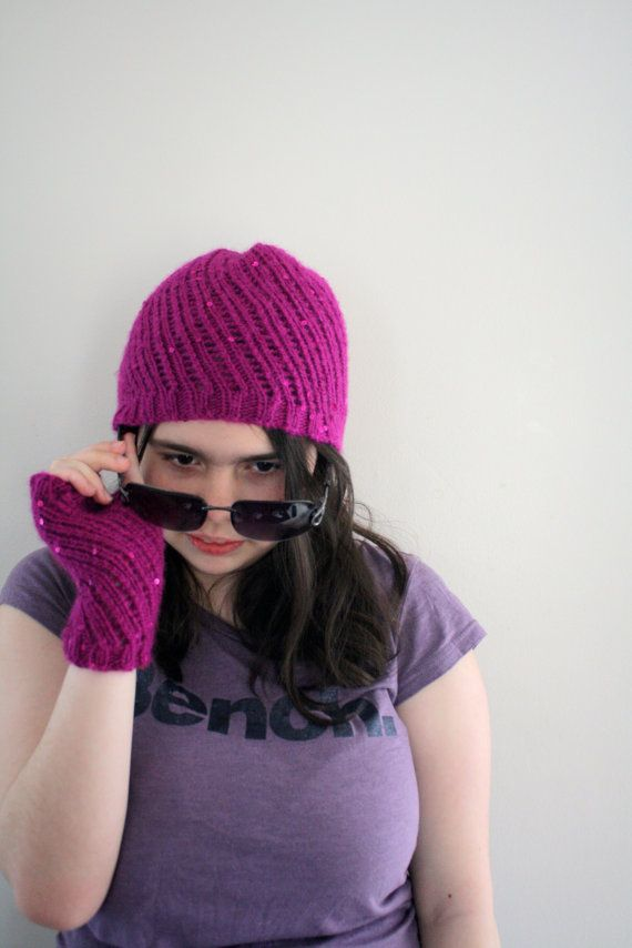 Knit Lace Fingerless Gloves Lace Hat by knittylittlesecret on Etsy