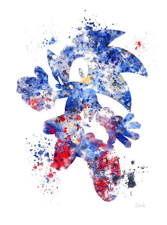 Sonic la ilustración impresión del arte de Hedgehog, juegos, decoración casera, arte de la pared