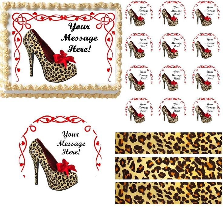 Bachelorette HIGH HEEL SHOE Cheetah Edible Cake Topper Image Frosting Sheet NEW #ProfessionalBakeryQuality