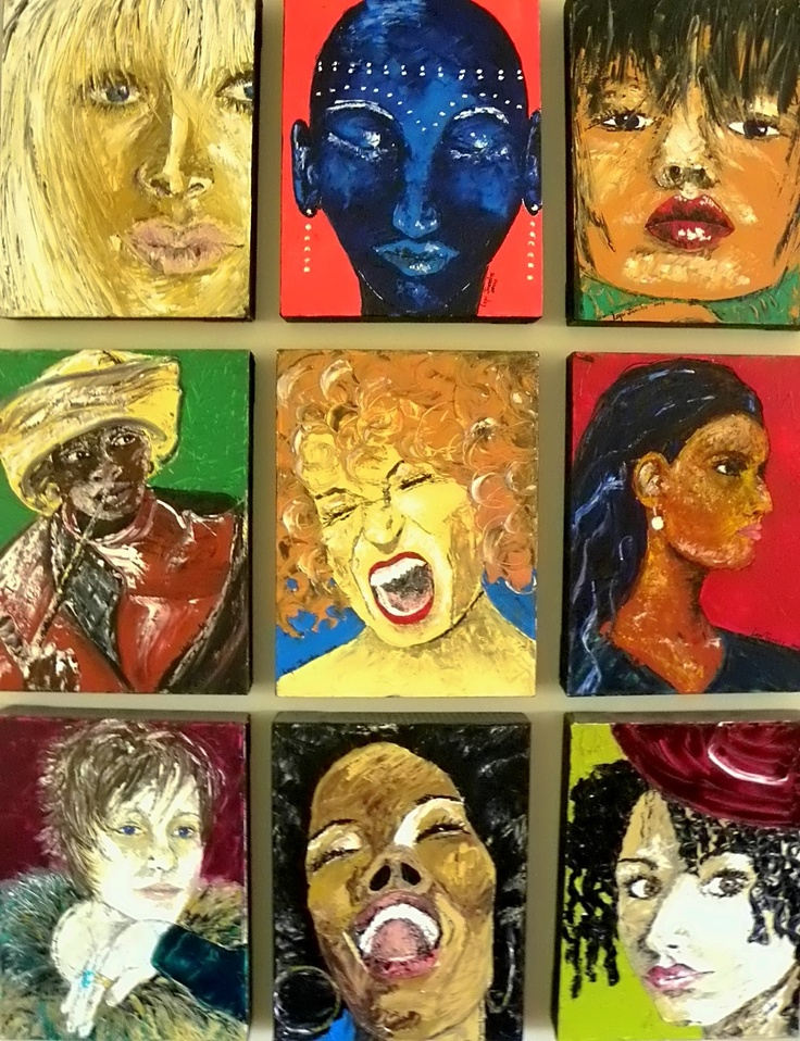 Oil applied with palled knife. Nine female faces hanging as one painting.