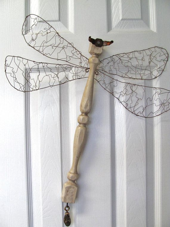 Lacy wire wing...Table Leg Dragonfly Wall or Garden Art by LucyDesignsonline, $60.00
