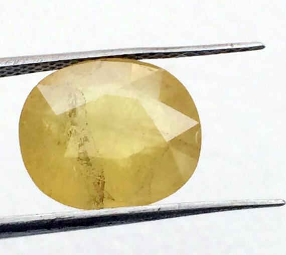 Yellow Sapphire 10x11.5mm Natural Faceted Oval by gemsforjewels