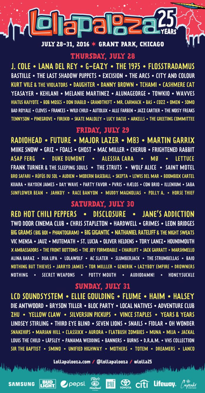 Lollapalooza 2016 day by day lineup More