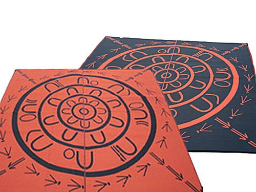 Indigenous Australian Yarning Circle reversible mat, the first of it's kind it Australia designed by De Greer Yindimincarlie for Global Kids Oz and Recycled Mats