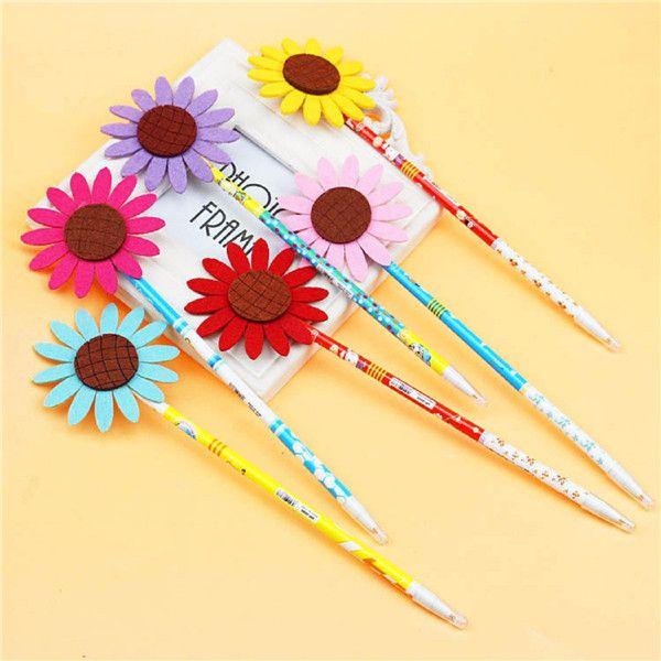 12pcs bolígrafo de gel sol de la flor de la pluma tinta del niño negro neutro para el regalo del niño en edad escolar