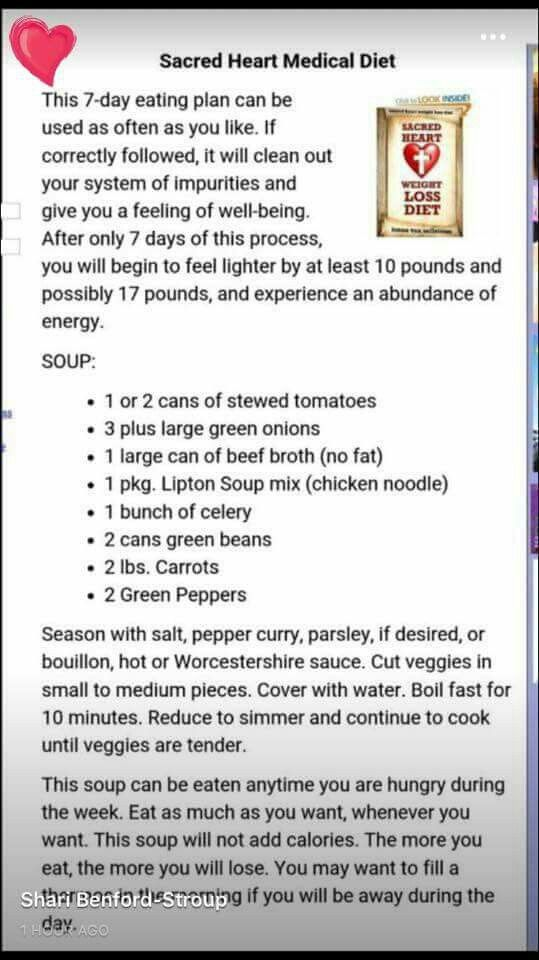 how to make sacred heart diet soup Eating Plan and Soup Recipe