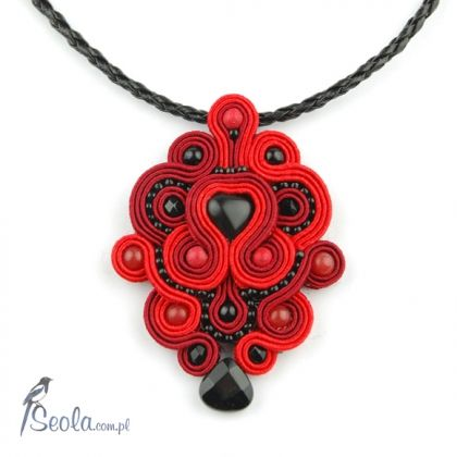 Soutache necklace Red X  (Naszyjnik sutasz)