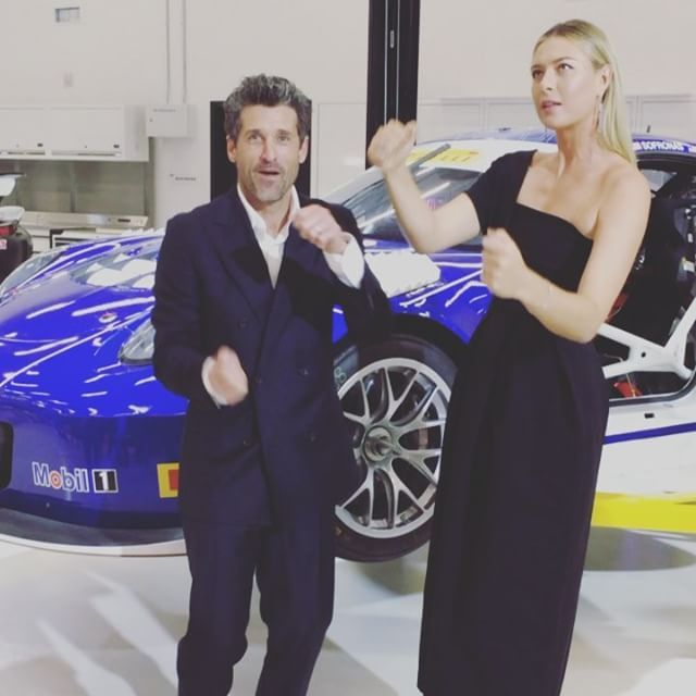 Maria's Instagram (video): Trying out some cars with Patrick Dempsey at the Grand Open opening of the @Porsche Experience Center in LA.