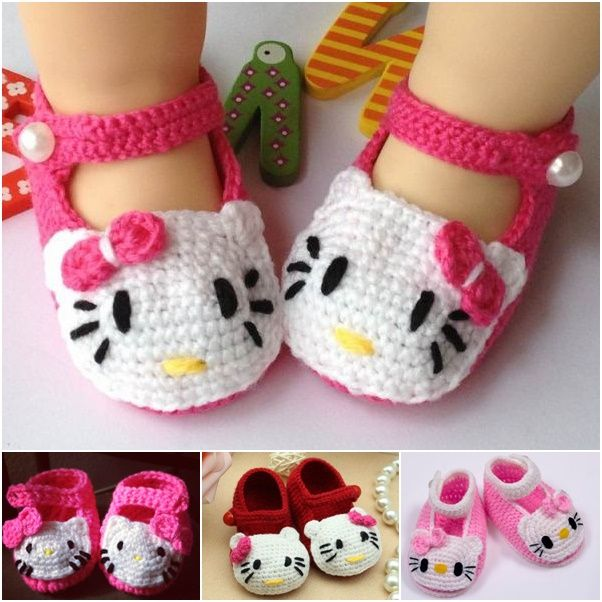 Any little ones will look cute wearing this adorable crochet Hello Kitty Slippers. ( Video Available )   Free Pattern --> http://wonderfuldiy.com/wonderful-diy-crochet-hello-kitty-slippers/ #diycraft #crochet