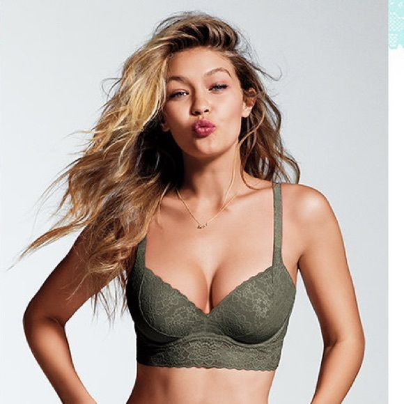 Last day! NEW! MEDALLION LACE PUSH-UP BRALETTE‼️ Olive green new with tags. Can fit size 36 A-C. Size M! Super cute‼️‼️ PINK Victoria's Secret Tops