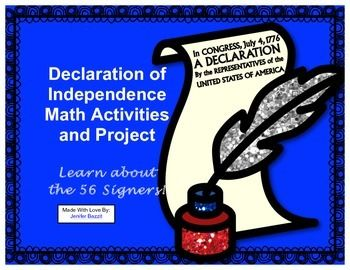 WEEK 4 (recommended for grades 4-6) http://www.teacherspayteachers.com/Product/Declaration-of-Independence-Math-Activities-and-Project-Learn-about-the-Signers-1063694